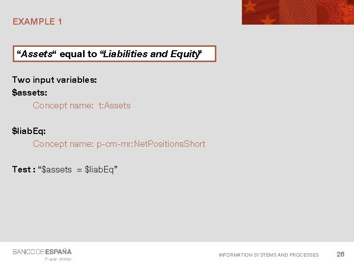"""EXAMPLE 1 """"Assets"""" equal to """"Liabilities and Equity"""" Two input variables: $assets: Concept name:"""