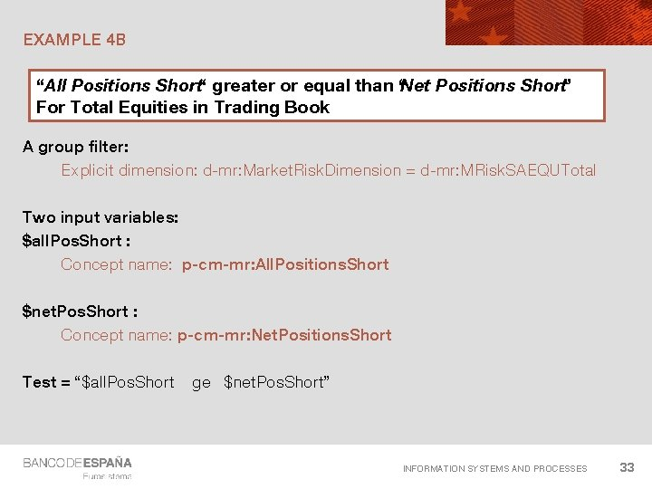 """EXAMPLE 4 B """"All Positions Short"""" greater or equal than """"Net Positions Short"""" For"""
