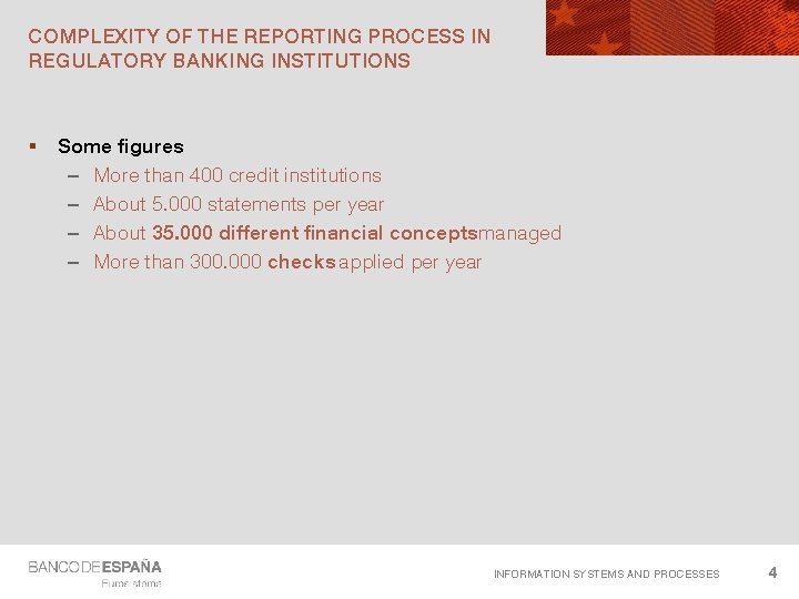 COMPLEXITY OF THE REPORTING PROCESS IN REGULATORY BANKING INSTITUTIONS § Some figures – More