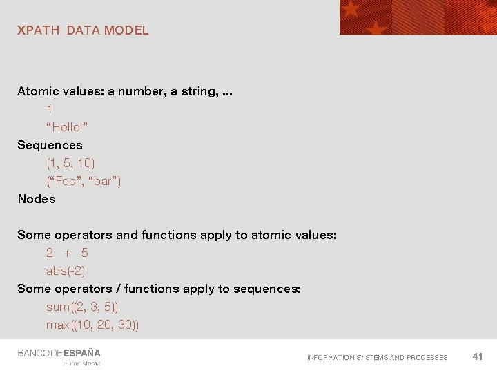 """XPATH DATA MODEL Atomic values: a number, a string, . . . 1 """"Hello!"""""""