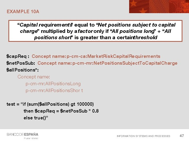 """EXAMPLE 10 A """"Capital requirements"""" equal to """"Net positions subject to capital charge"""" multiplied"""