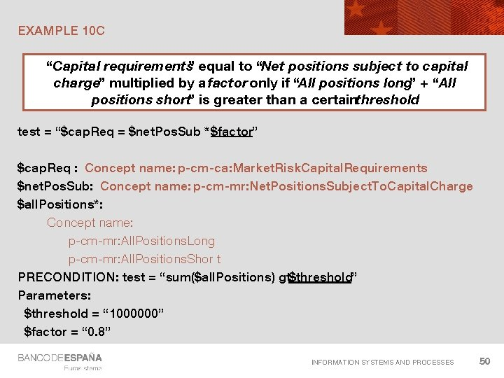 """EXAMPLE 10 C """"Capital requirements"""" equal to """"Net positions subject to capital charge"""" multiplied"""