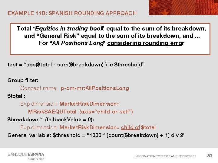 """EXAMPLE 11 B: SPANISH ROUNDING APPROACH Total """"Equities in trading book"""" equal to the"""
