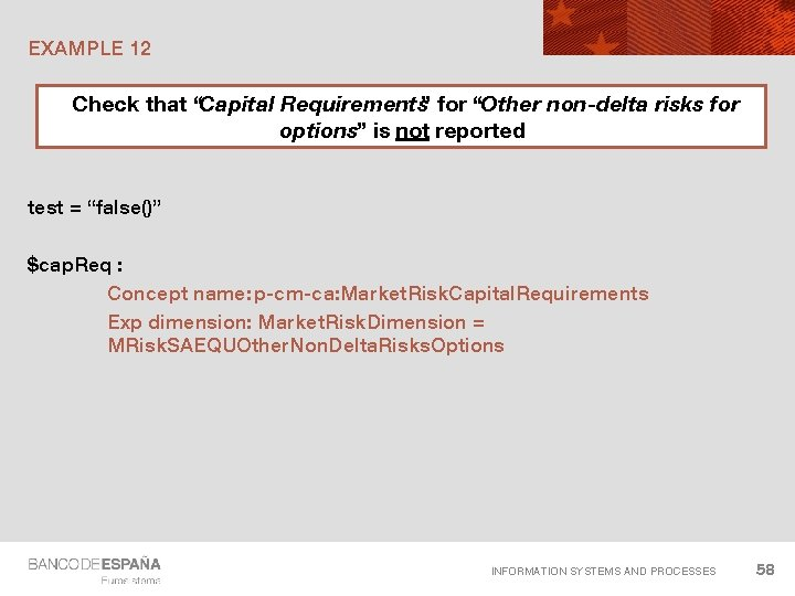 """EXAMPLE 12 Check that """"Capital Requirements"""" for """"Other non-delta risks for options"""" is not"""