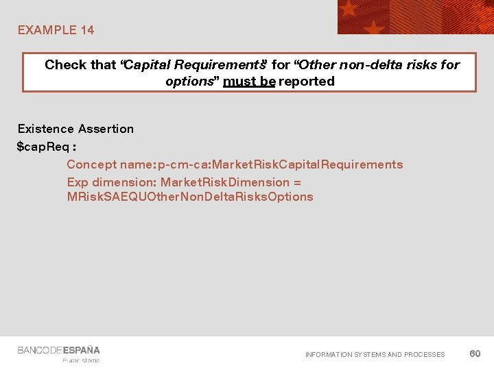 """EXAMPLE 14 Check that """"Capital Requirements"""" for """"Other non-delta risks for options"""" must be"""