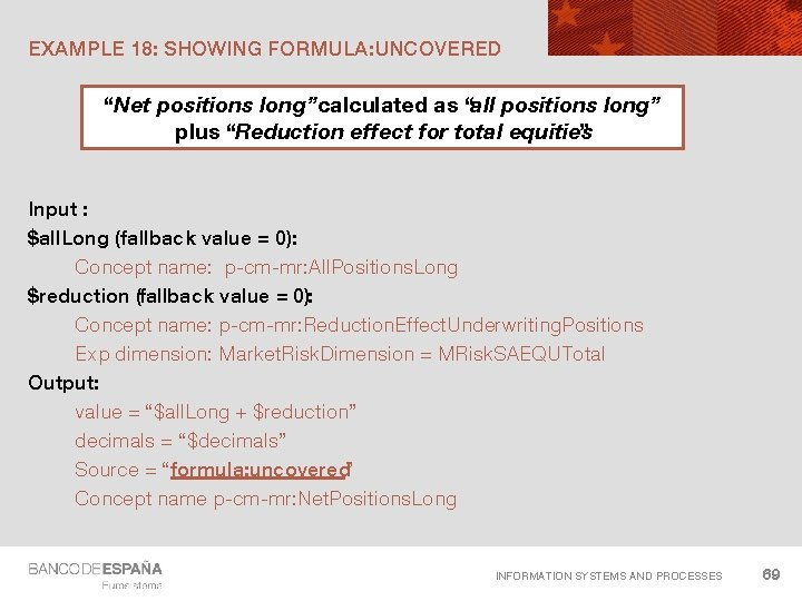 """EXAMPLE 18: SHOWING FORMULA: UNCOVERED """"Net positions long""""calculated as """"all positions long"""" plus """"Reduction"""
