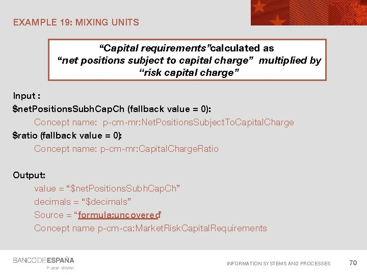 """EXAMPLE 19: MIXING UNITS """"Capital requirements""""calculated as """"net positions subject to capital charge"""" multiplied"""