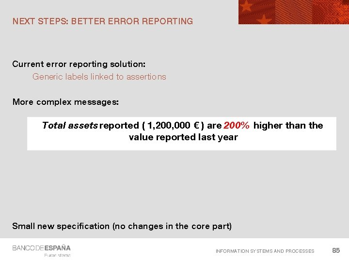 NEXT STEPS: BETTER ERROR REPORTING Current error reporting solution: Generic labels linked to assertions