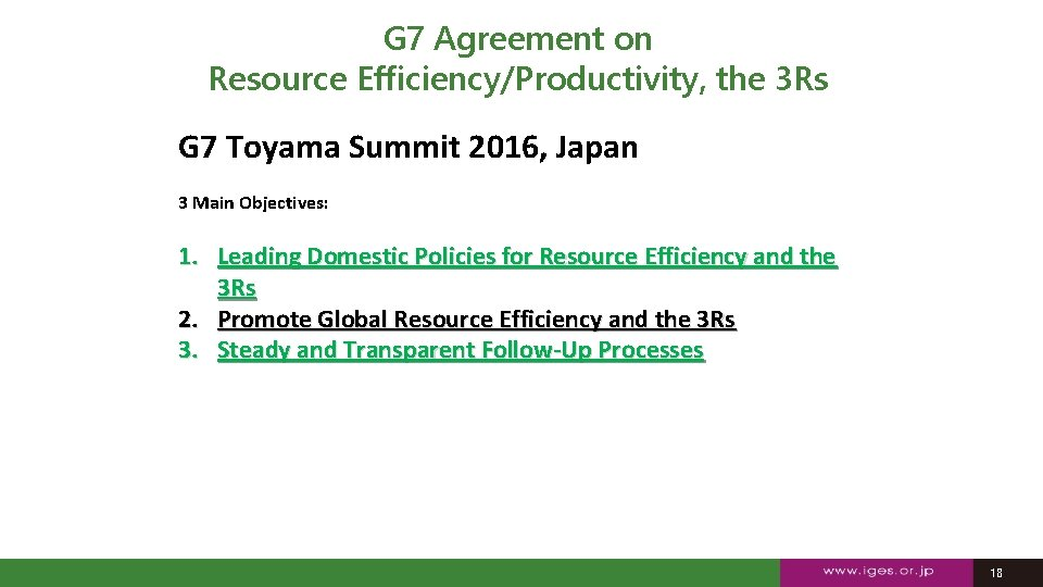 G 7 Agreement on Resource Efficiency/Productivity, the 3 Rs G 7 Toyama Summit 2016,