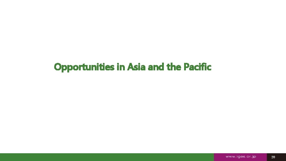 Opportunities in Asia and the Pacific 20 20