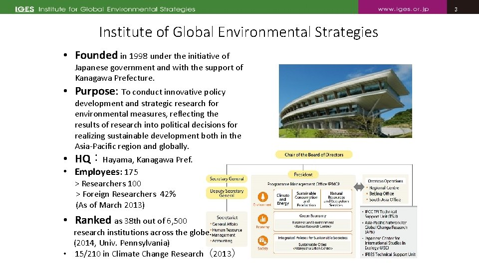 3 3 Institute of Global Environmental Strategies • Founded in 1998 under the initiative