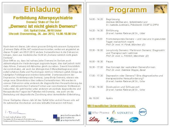 Einladung Programm Fortbildung Alterspsychiatrie Demenz State of The Art 14. 00 - 14. 20