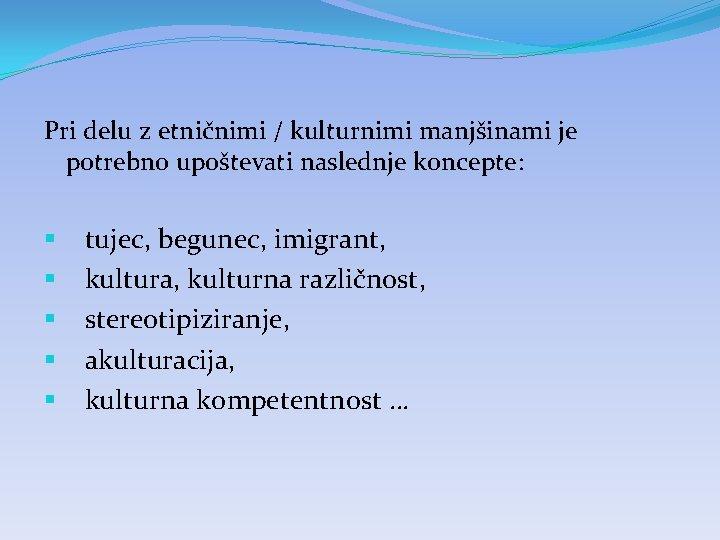 Pri delu z etničnimi / kulturnimi manjšinami je potrebno upoštevati naslednje koncepte: § §