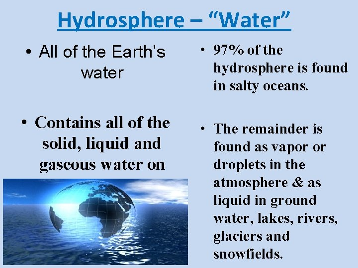 """Hydrosphere – """"Water"""" • All of the Earth's water • Contains all of the"""