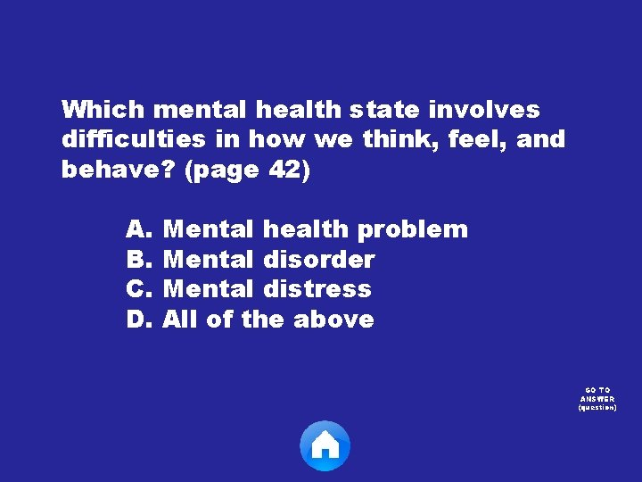 Which mental health state involves difficulties in how we think, feel, and behave? (page