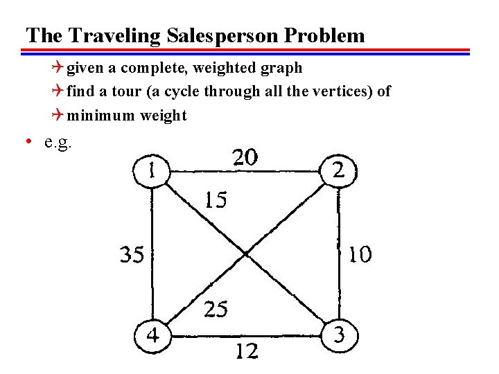 The Traveling Salesperson Problem Q given a complete, weighted graph Q find a tour