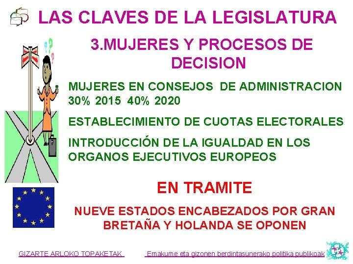 LAS CLAVES DE LA LEGISLATURA 3. MUJERES Y PROCESOS DE DECISION • MUJERES EN