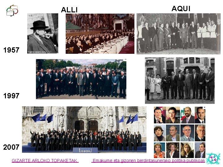ALLI AQUI 1957 1997 2007 GIZARTE ARLOKO TOPAKETAK Emakume eta gizonen berdintasunerako politika publikoak