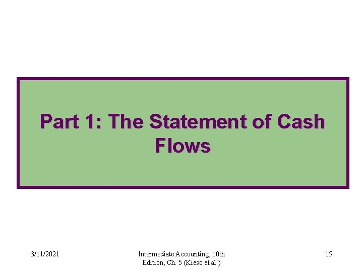 Part 1: The Statement of Cash Flows 3/11/2021 Intermediate Accounting, 10 th Edition, Ch.