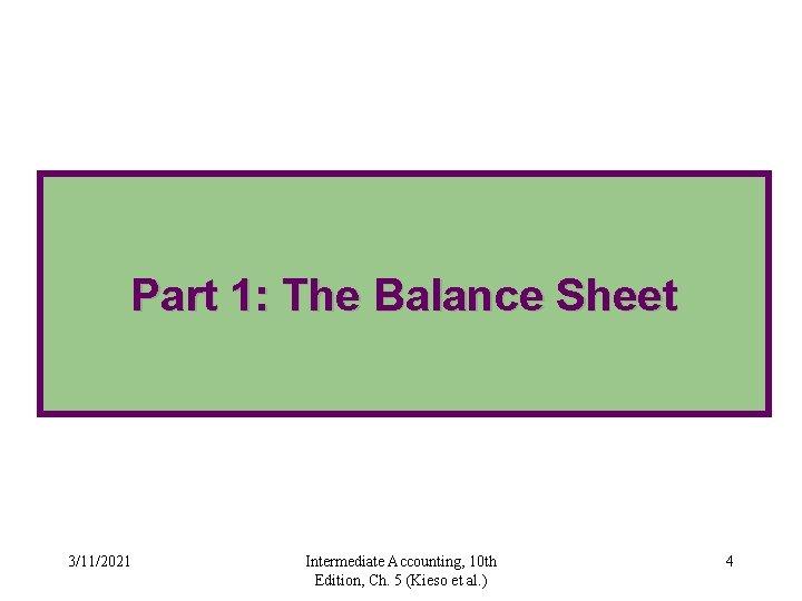 Part 1: The Balance Sheet 3/11/2021 Intermediate Accounting, 10 th Edition, Ch. 5 (Kieso