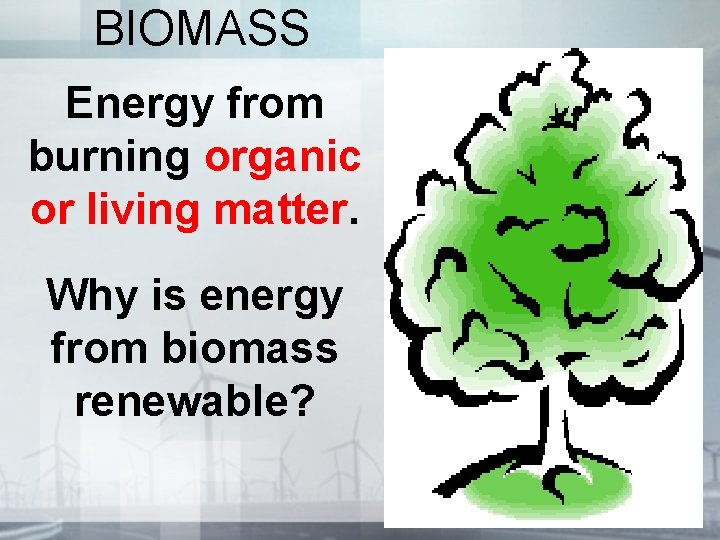 BIOMASS Energy from burning organic or living matter. Why is energy from biomass renewable?