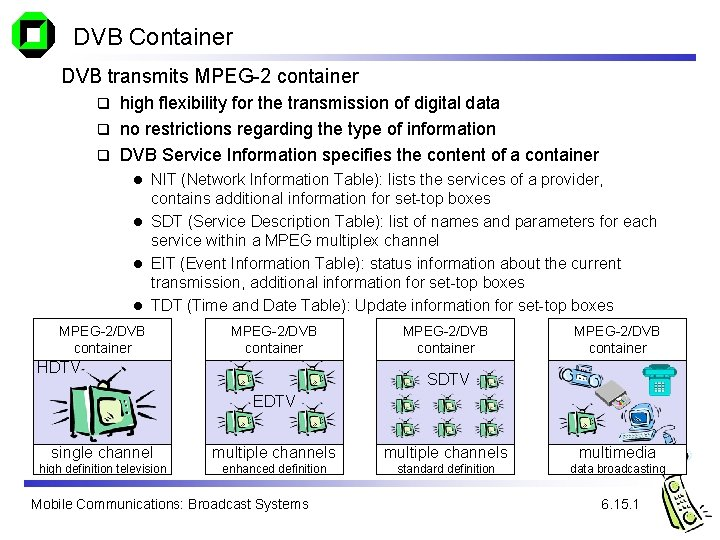 DVB Container DVB transmits MPEG-2 container high flexibility for the transmission of digital data