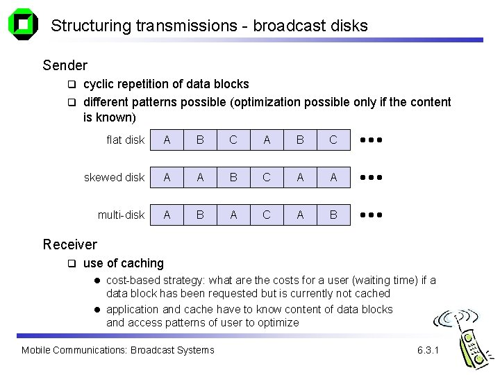 Structuring transmissions - broadcast disks Sender cyclic repetition of data blocks q different patterns