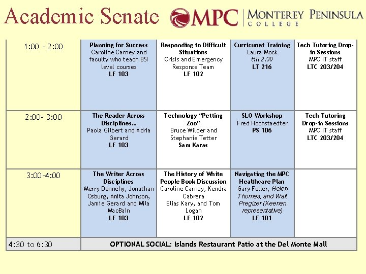 Academic Senate 1: 00 – 2: 00 Planning for Success Caroline Carney and faculty