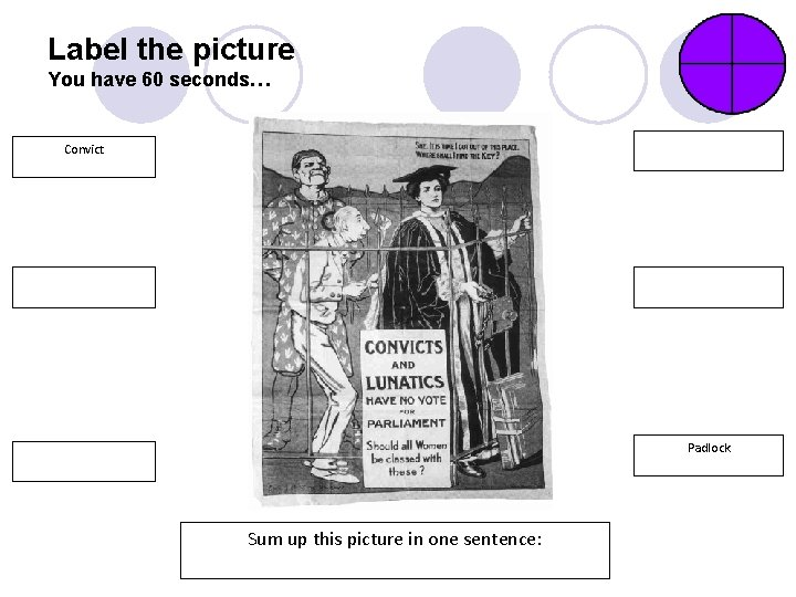 Label the picture You have 60 seconds… Convict Padlock Sum up this picture in