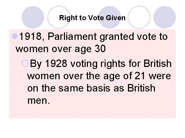 Right to Vote Given l 1918, Parliament granted vote to women over age 30