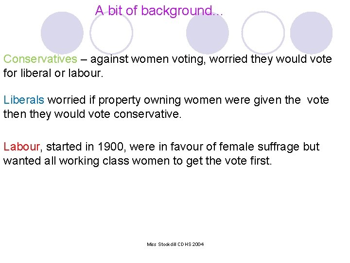 A bit of background… Conservatives – against women voting, worried they would vote for