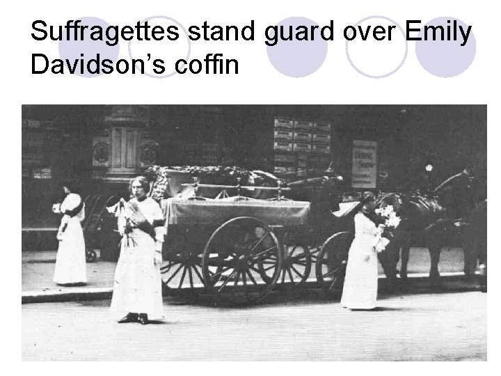 Suffragettes stand guard over Emily Davidson's coffin