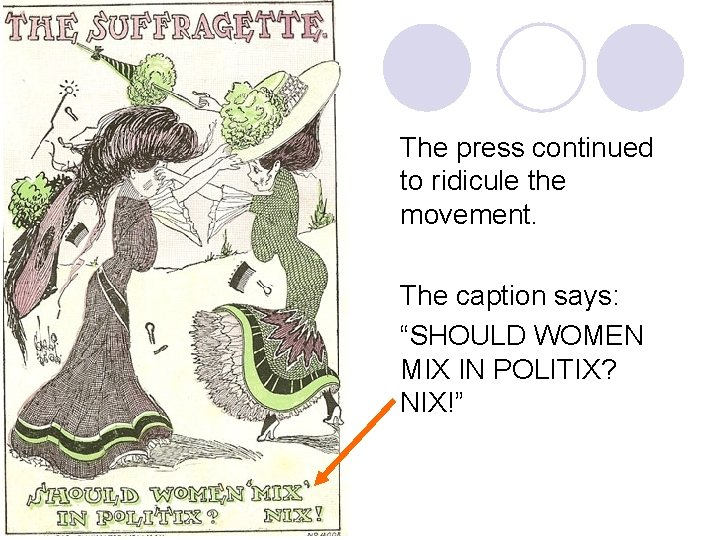 """The press continued to ridicule the movement. The caption says: """"SHOULD WOMEN MIX IN"""
