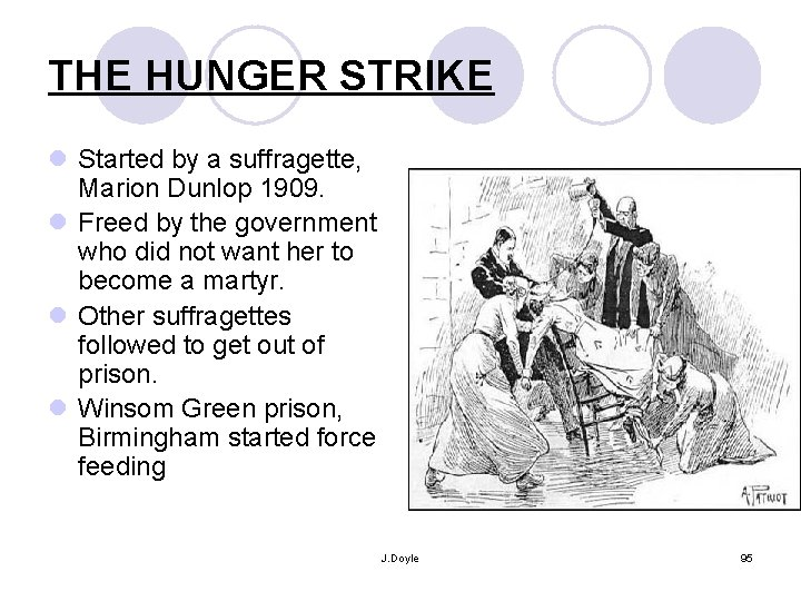 THE HUNGER STRIKE l Started by a suffragette, Marion Dunlop 1909. l Freed by