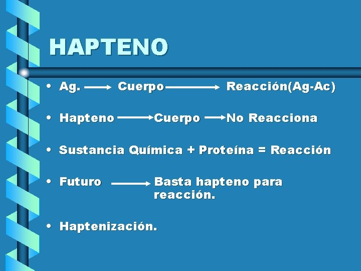 HAPTENO • Ag. • Hapteno Cuerpo Reacción(Ag-Ac) No Reacciona • Sustancia Química + Proteína