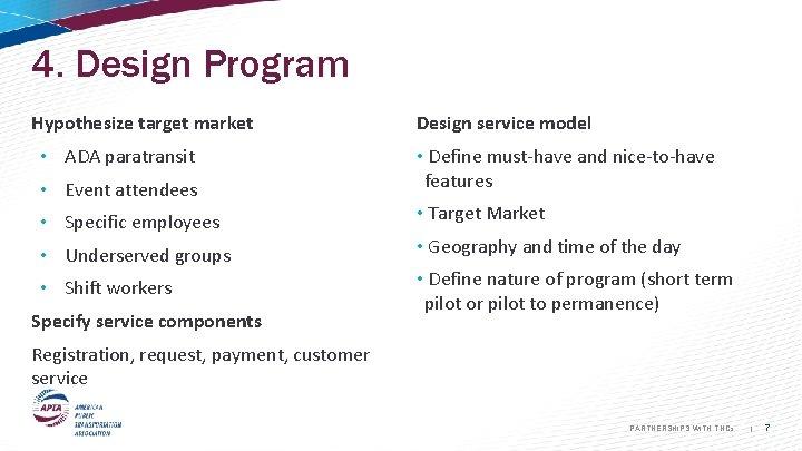 4. Design Program Hypothesize target market • ADA paratransit • Event attendees • Specific