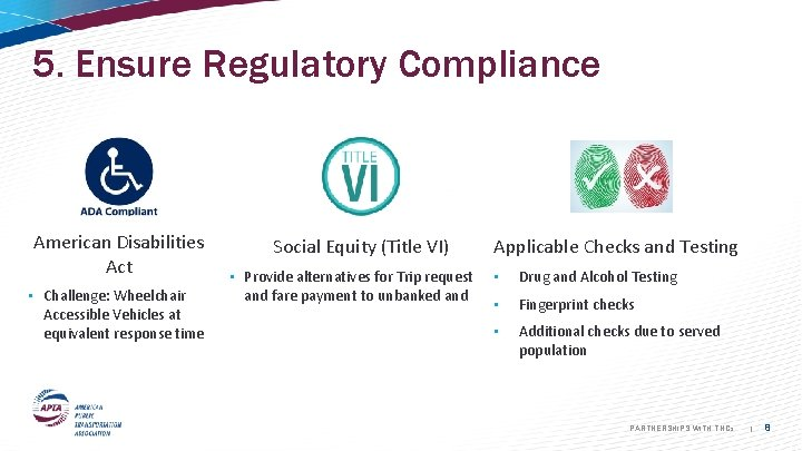 5. Ensure Regulatory Compliance American Disabilities Act • Challenge: Wheelchair Accessible Vehicles at equivalent
