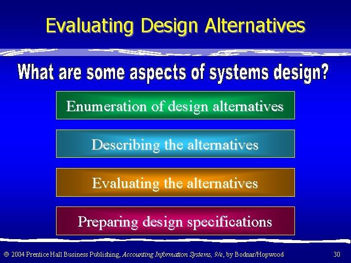 Evaluating Design Alternatives Enumeration of design alternatives Describing the alternatives Evaluating the alternatives Preparing