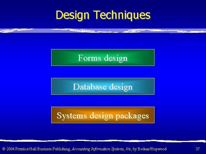 Design Techniques Forms design Database design Systems design packages 2004 Prentice Hall Business Publishing,