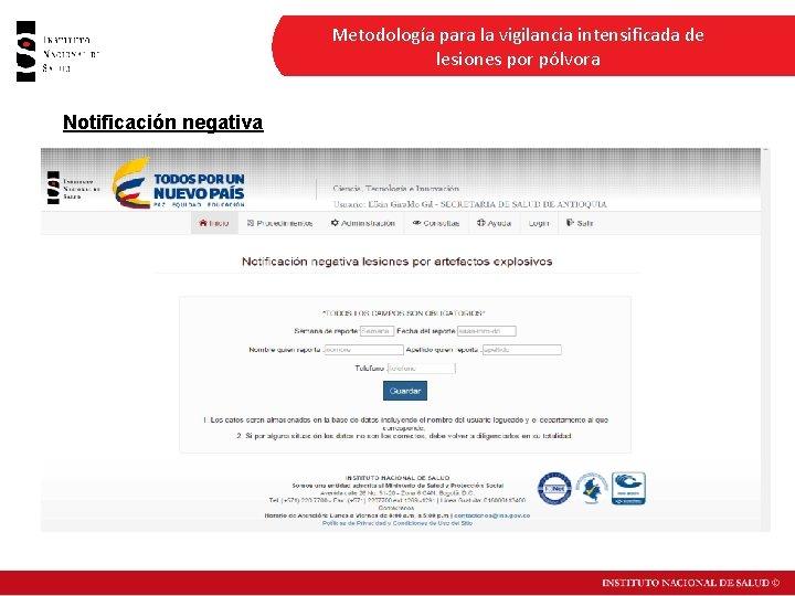 Metodología para la vigilancia intensificada de lesiones por pólvora Notificación negativa Fuente: Sivigila, Instituto