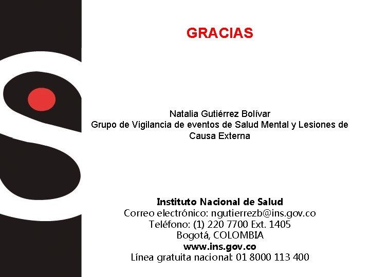 GRACIAS Natalia Gutiérrez Bolívar Grupo de Vigilancia de eventos de Salud Mental y Lesiones