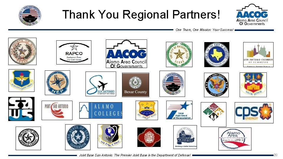 Thank You Regional Partners! One Team, One Mission: Your Success! Joint Base San Antonio: