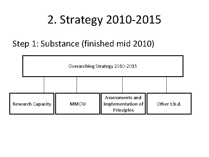2. Strategy 2010 -2015 Step 1: Substance (finished mid 2010) Overarching Strategy 2010 -2015
