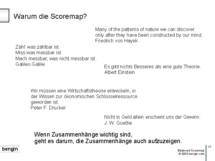 Warum die Scoremap? Many of the patterns of nature we can discover only after