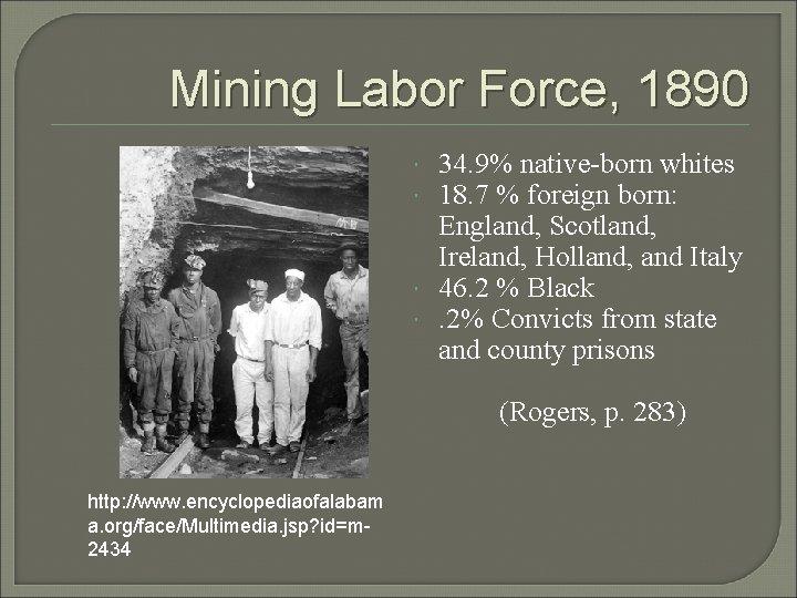 Mining Labor Force, 1890 34. 9% native-born whites 18. 7 % foreign born: England,