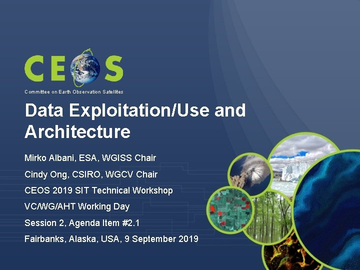 Committee on Earth Observation Satellites Data Exploitation/Use and Architecture Mirko Albani, ESA, WGISS Chair
