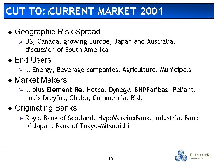 CUT TO: CURRENT MARKET 2001 l Geographic Risk Spread Ø l End Users Ø