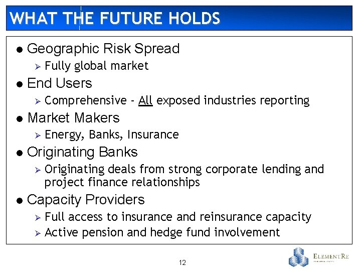 WHAT THE FUTURE HOLDS l Geographic Risk Spread Ø l End Users Ø l