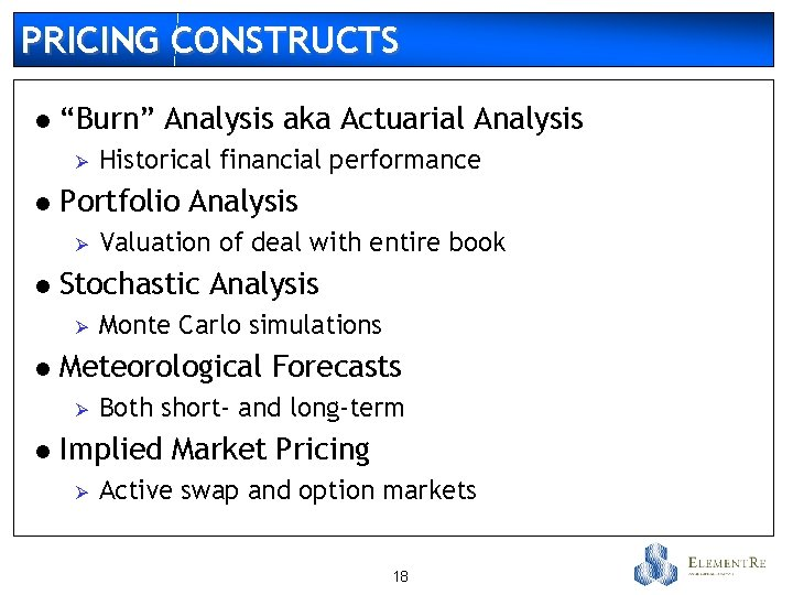 "PRICING CONSTRUCTS l ""Burn"" Analysis aka Actuarial Analysis Ø l Portfolio Analysis Ø l"