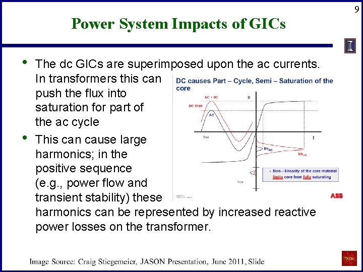 Power System Impacts of GICs • • The dc GICs are superimposed upon the